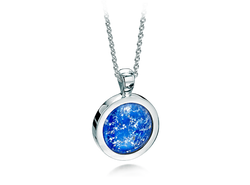 Round Pendant White Gold Blue