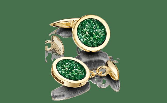 Cufflink Gold Green