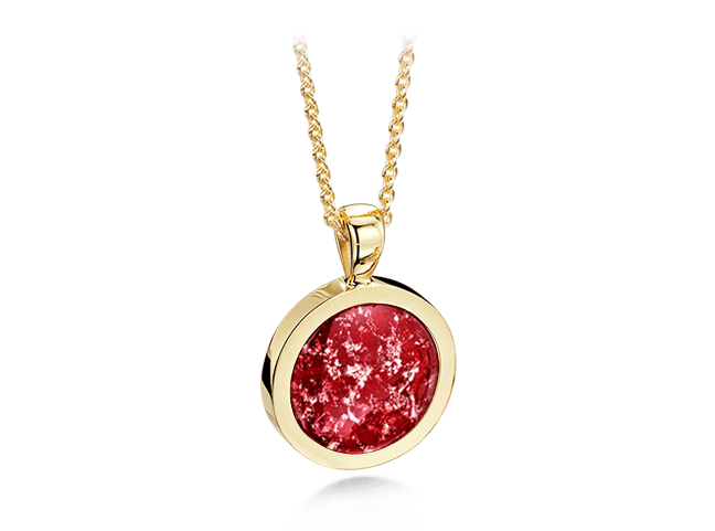 Round Pendant Gold Ruby