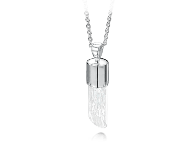 Long Pendant White Gold Clear