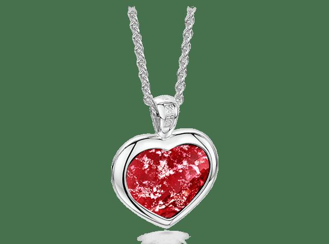 Heart Pendant Silver Ruby