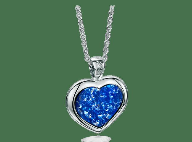 Heart Pendant White Gold Blue