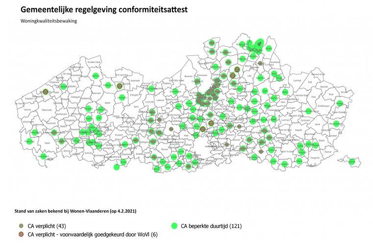 gemeentes waar een conformiteitsattest n