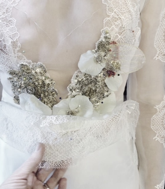 zijde organza blouse ,kant details