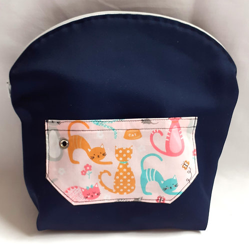 Project Bag - Pink Cats on Navy
