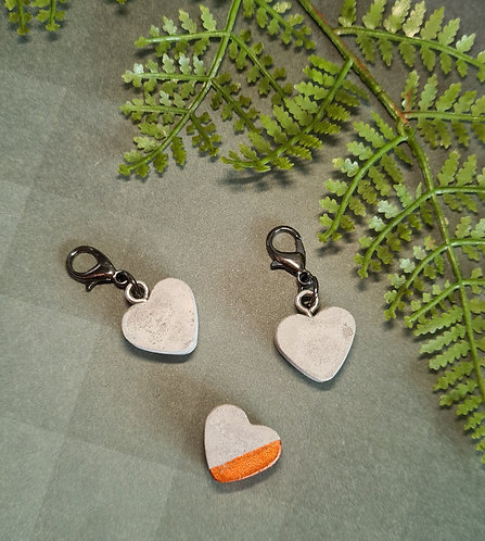 Cement Heart Stitch Markers / Progress Keepers