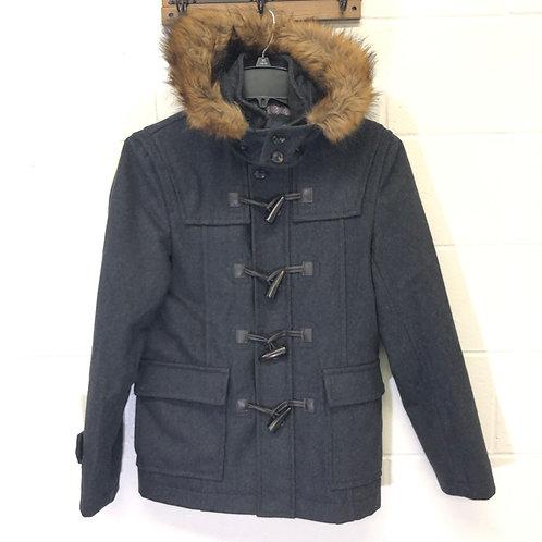 Zara Men's hooded faux fur Wool Coat