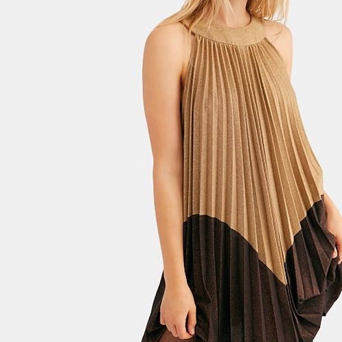 Free People metallic gold dress.