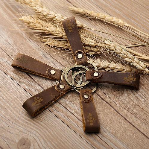 Vintage Tan Leather Key Chain