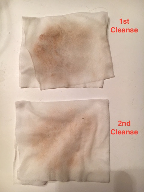 Dirty facial cleansing cloths