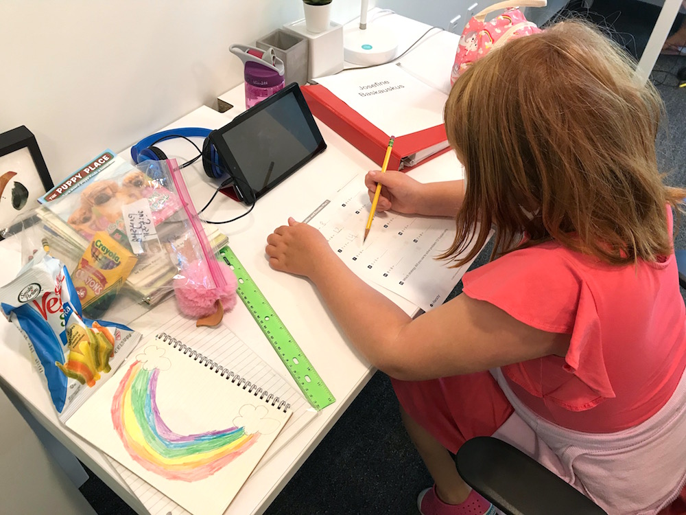 A student completing extra math practice