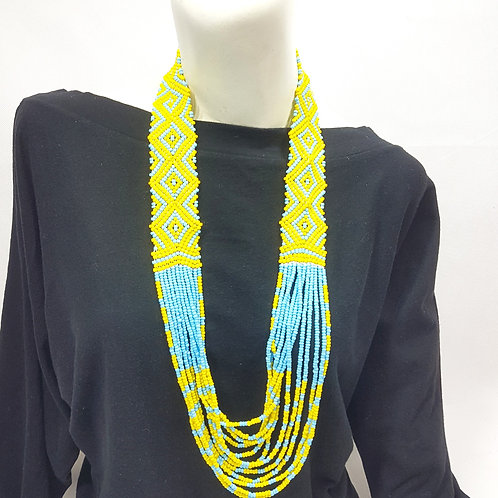 Beads Necklace Yellow Light Blue