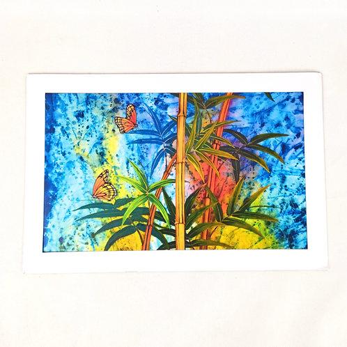 Artprint - Yellow Bamboo and Butterflies
