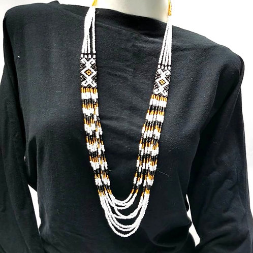 Beads Necklace Black White Gold