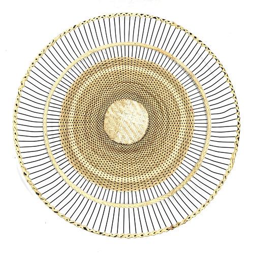 """Rattan Fan Tray 17"""" (semi-weave)"""