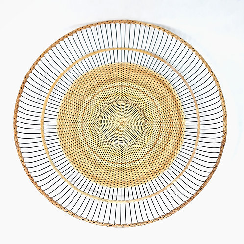 "Rattan Fan Tray 17"" Half Weaved"