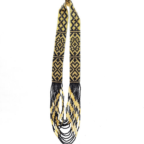 Beads Necklace Black Gold