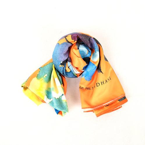 Shawl (Idhani) -Blue Pallete Stain Orange*