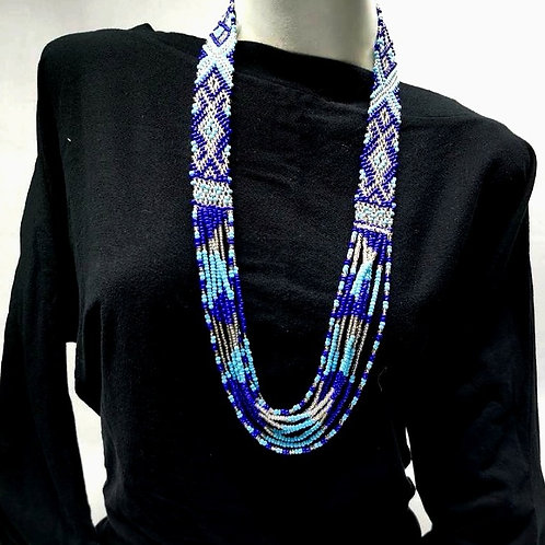 Beads Necklace Blue Grey