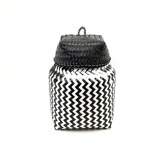Basket With Cover Black White