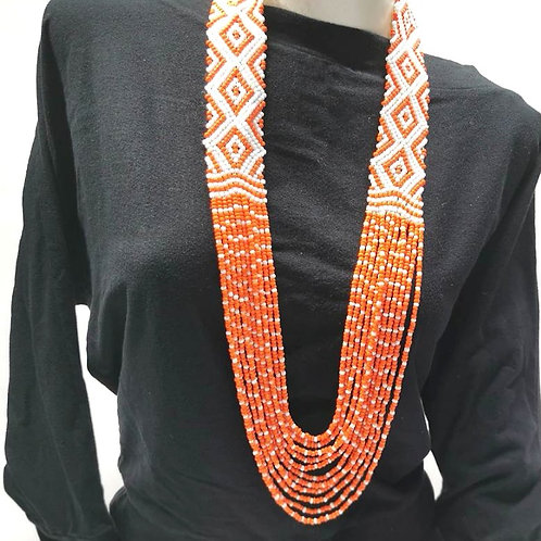 Beads Necklace Orange White