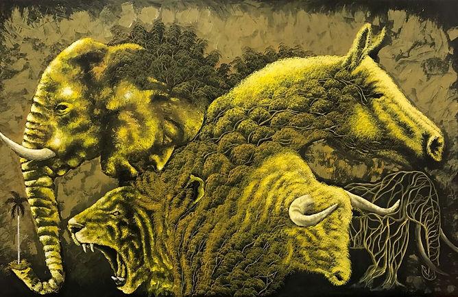 Cuba, l'espoir, peinture galerie intermundos, Osmiel el docto, campagne, nature, tigre, cheval, elephant,taureau