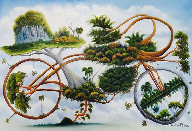 Cuba, l'espoir, peinture galerie intermundos, Osmiel el docto, campagne, nature, vélo, byciclette
