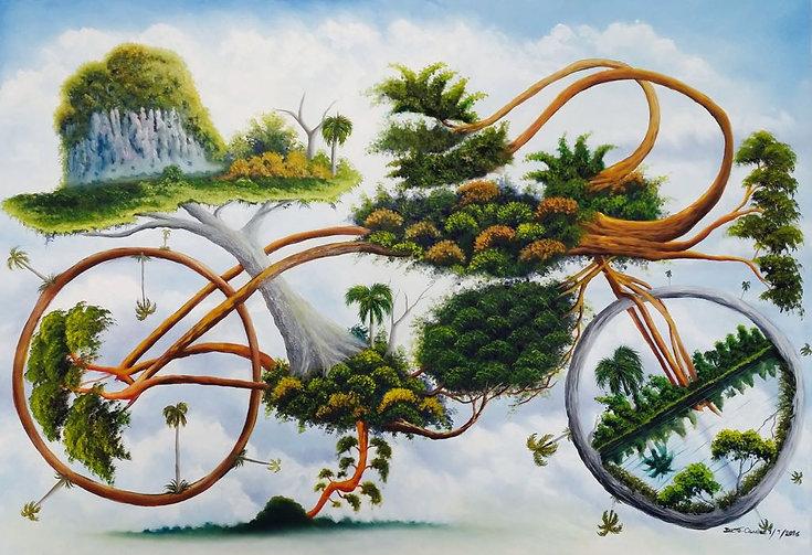 Cuba, la byciclette, peinture galerie intermundos, Osmiel el docto, campagne, nature