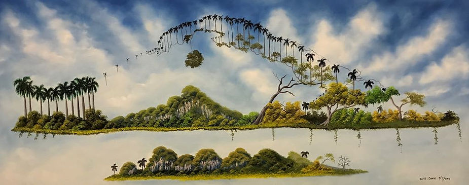Cuba, la brosse, peinture galerie intermundos, Osmiel el docto, campagne, nature, tigre, cheval, elephant,taureau