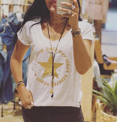 Tshirt ville doré blanc