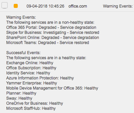 Office 365 Service Status Event Monitor | Office 365 Monitoring
