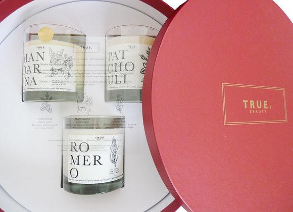 Set de velas de cera de Soya: Mandarina, Patchouli y Romero