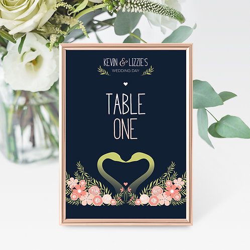 Flora Elegance Table Number/Name Card