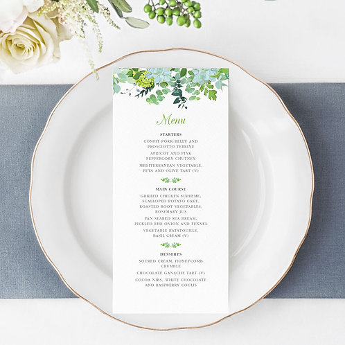 Bare Botanical Menu