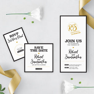 A modern mono black and white bold wedding stationery design