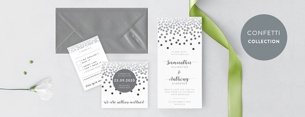 Confetti grey DL stationery set. RSVP, DL dotted invitation, square save the date