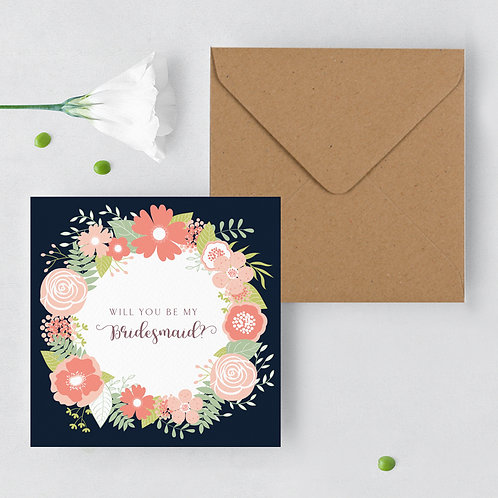 Will you be my Bridesmaid Blush Navy Card