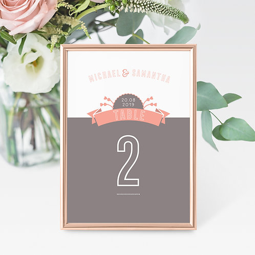 Love Story Table Name/Number Card