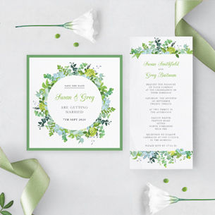Botanical, floral and green. Perfect wedding stationery for Botanical themes.