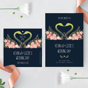 blush flowers and romanntic swans to create this wedding stationery design. Including invites, RSVP, save the date