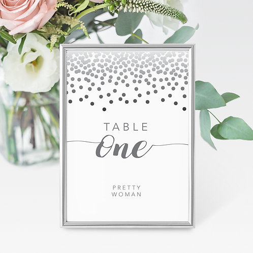 Confetti Table Name/Number Card