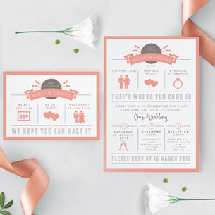 A story of love for your wedding invitation and stationery. Featuring graphics and illustrations.