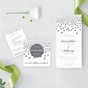 wedding invitation with confetti design, invite, RSVP, personalised stationery