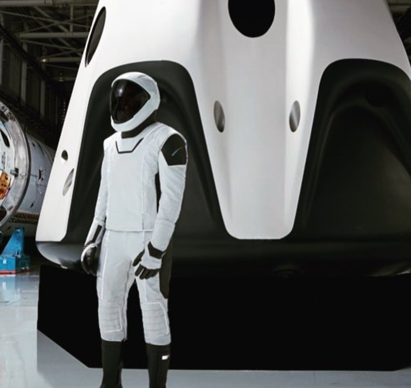spacesuit for use by private astronauts to wear within in the Dragon V2 space capsule  A mannequin wore the SpaceX space suit during the maiden launch of the Falcon Heavy in February 2018 suit is intended for intravehicular activity use only (IVA type) meant to be worn inside a pressurized spacecraft.