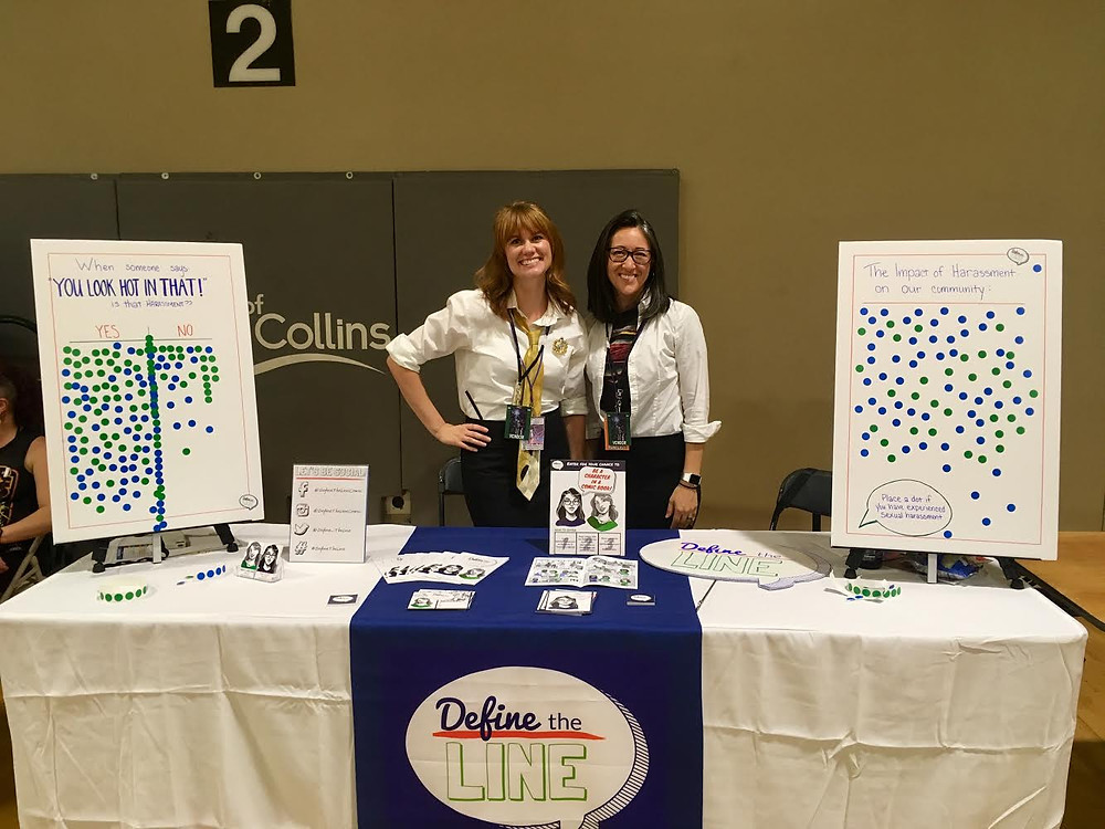 Define the Line Fort Collins comic con booth, co-founders Nikki Larchar and Tina Todd, Is saying you look hot in that harassment.