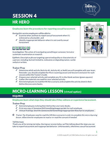 Define the Line facilitation guide micro-learning lesson plan