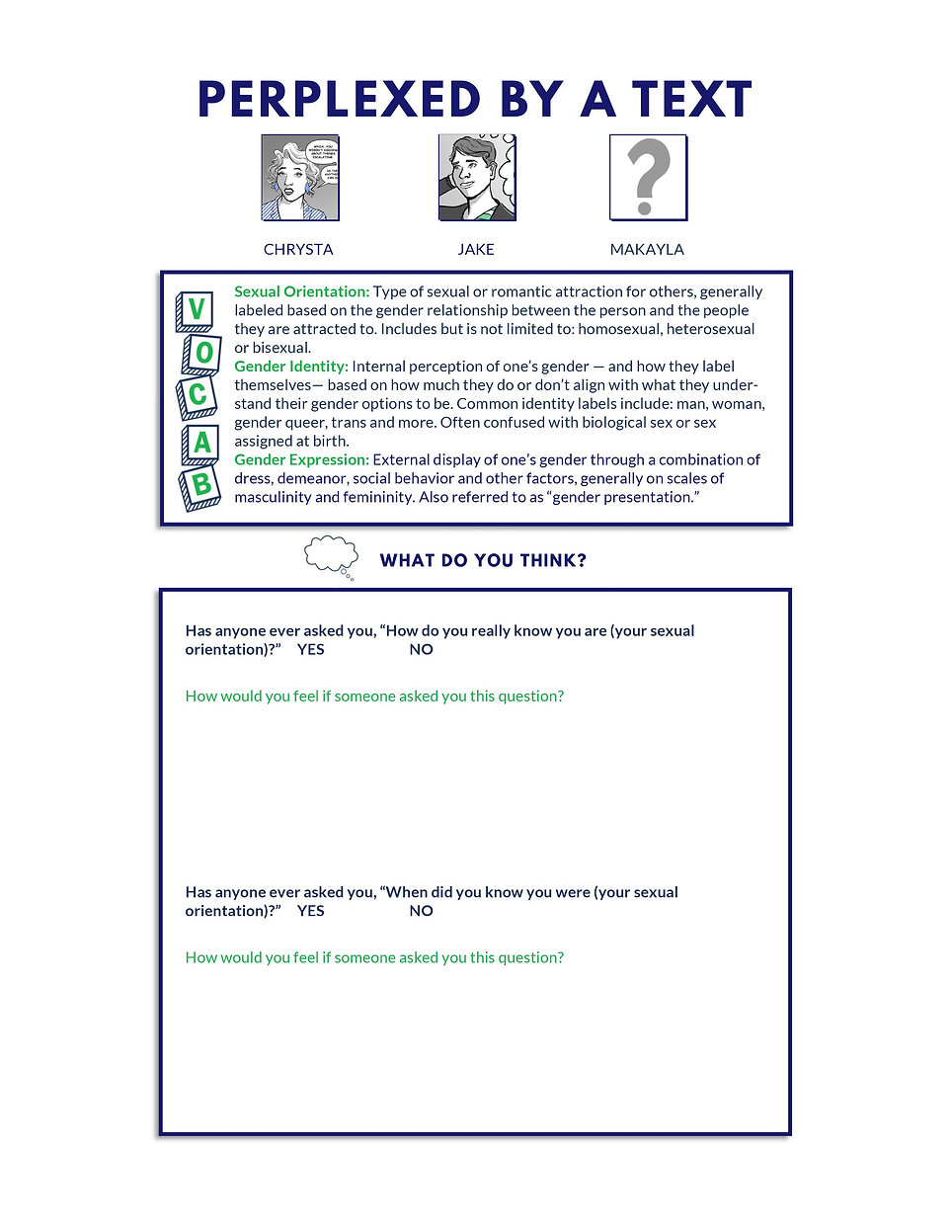 Sexual harassment training activity sheet.