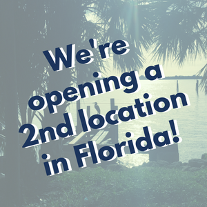 """Image of Florida with the words """"We're opening a 2nd location in Florida!"""""""