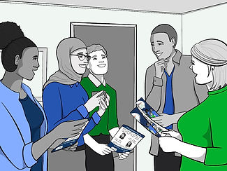 Employees standing in circle with Define the Line comic books