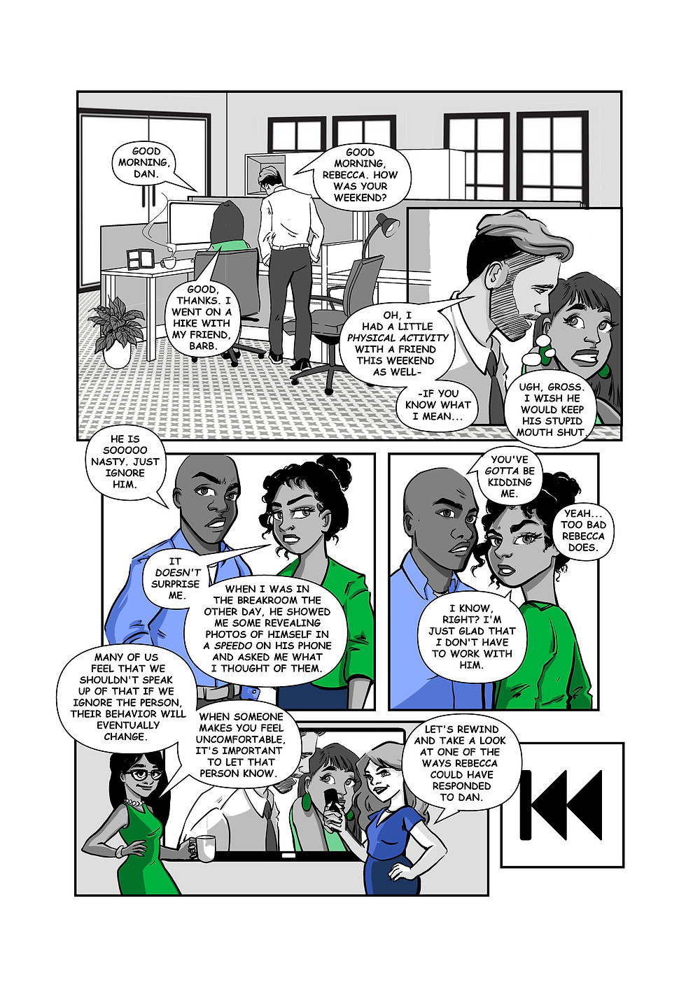 Define the Line first page of workplace harassment training comic book
